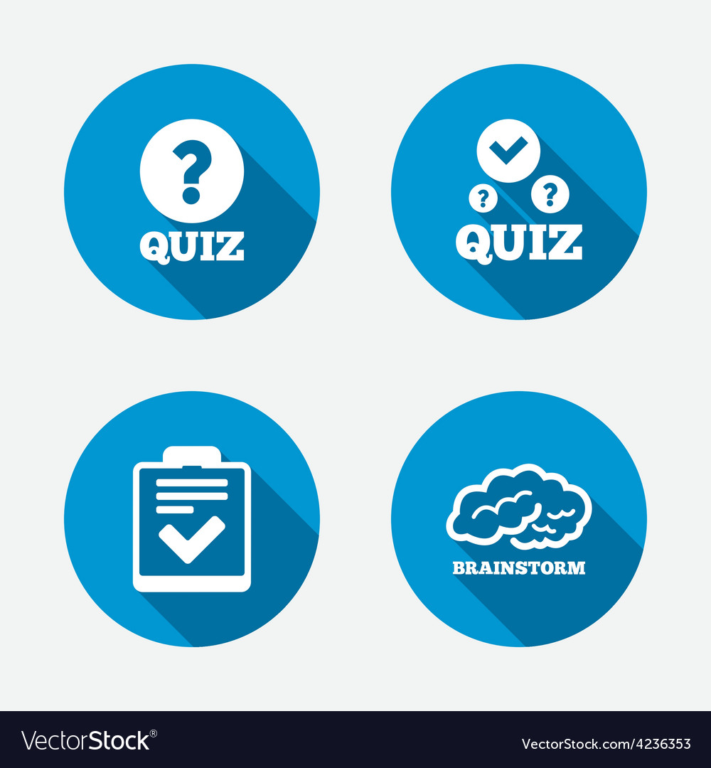 Quiz icons checklist and human brain symbols vector | Price: 1 Credit (USD $1)
