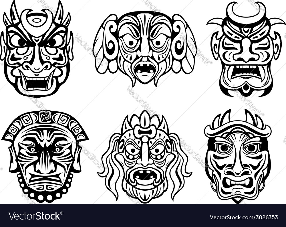 Religious masks in tribal style vector | Price: 1 Credit (USD $1)