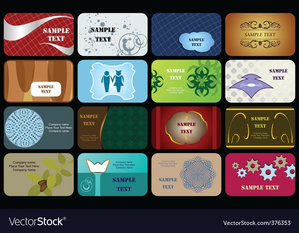 Set variety horizontal business cards vector | Price: 1 Credit (USD $1)