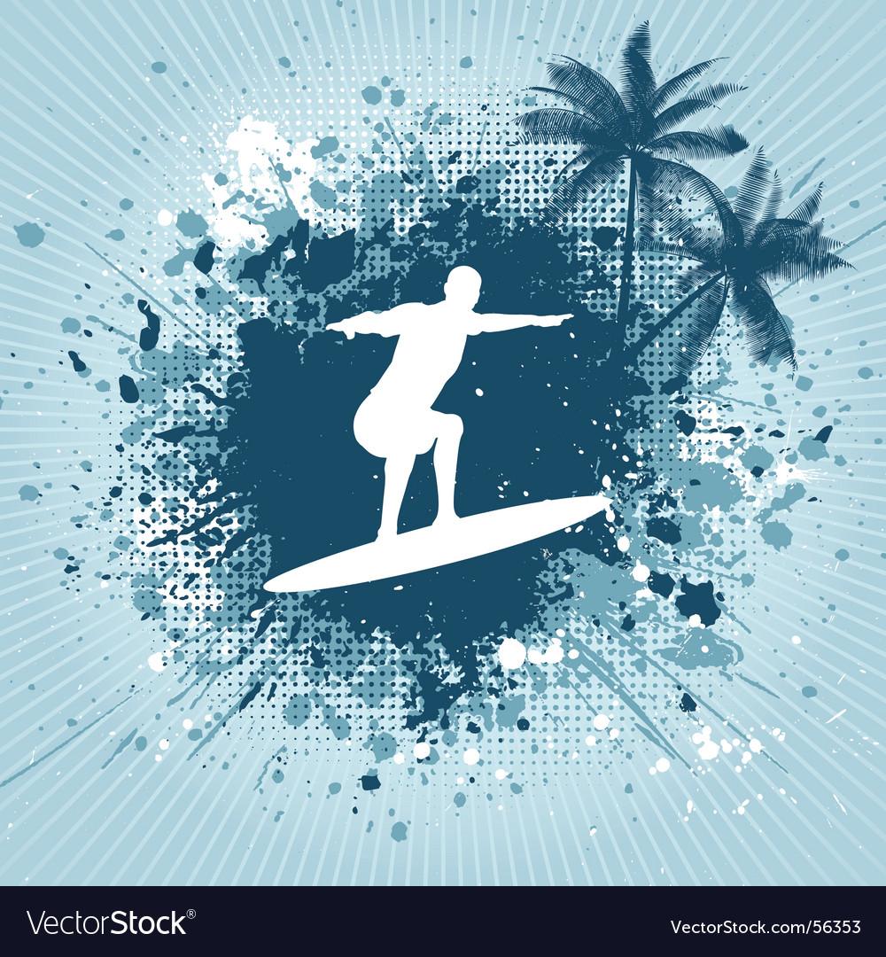 Surfing grunge vector | Price: 1 Credit (USD $1)