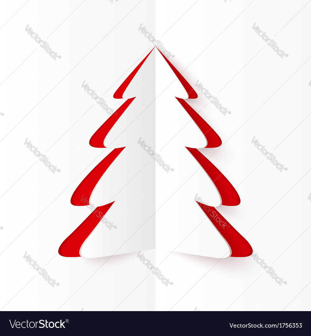 White and red cutout paper christmas tree vector | Price: 1 Credit (USD $1)