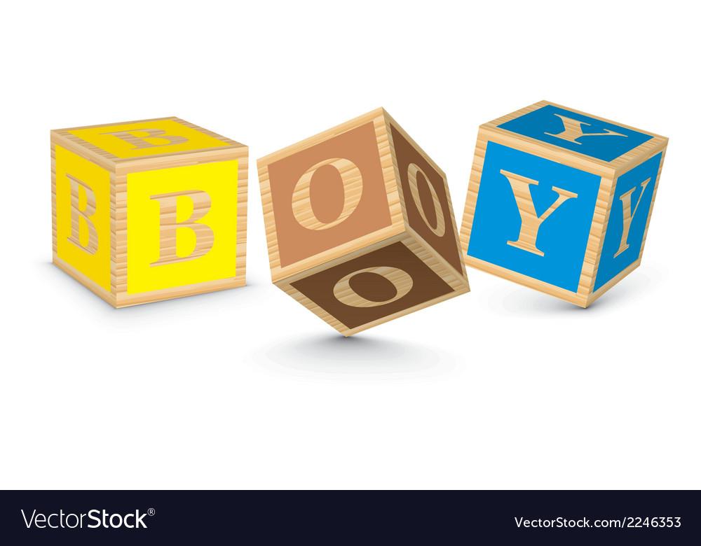 Word boy written with alphabet blocks vector | Price: 1 Credit (USD $1)