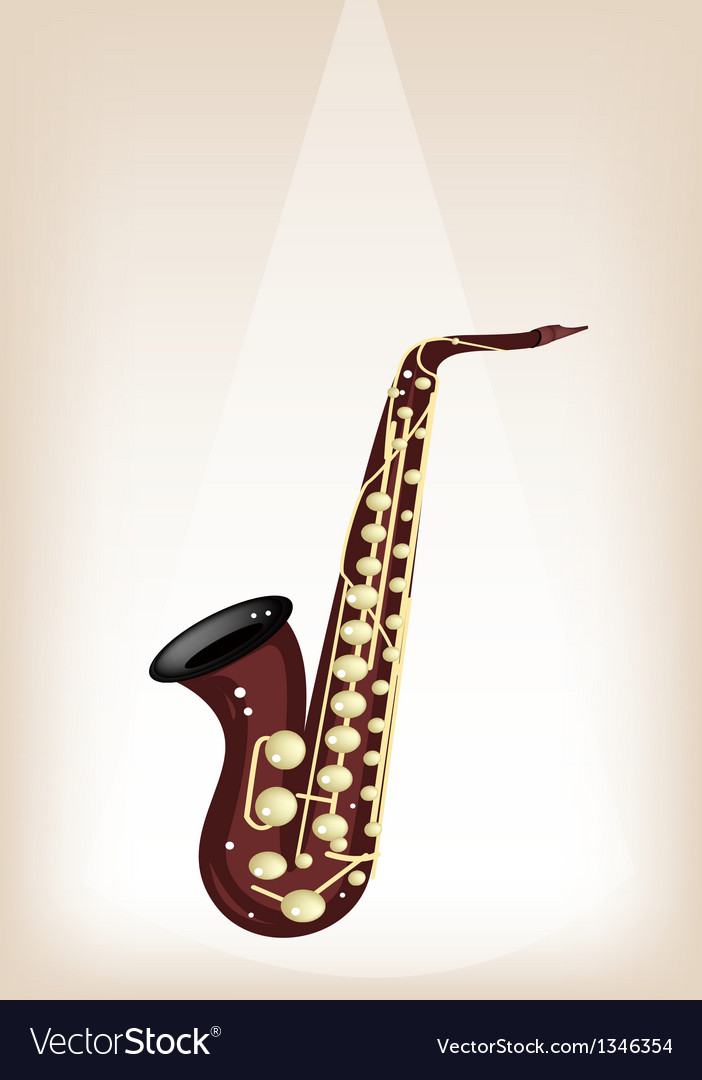 A musical alto saxophone on brown stage background vector