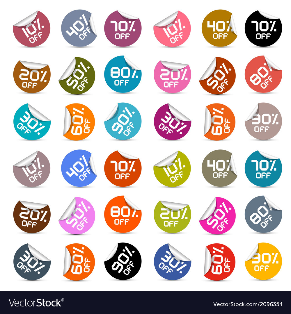 Colorful discount stickers labels set vector | Price: 1 Credit (USD $1)