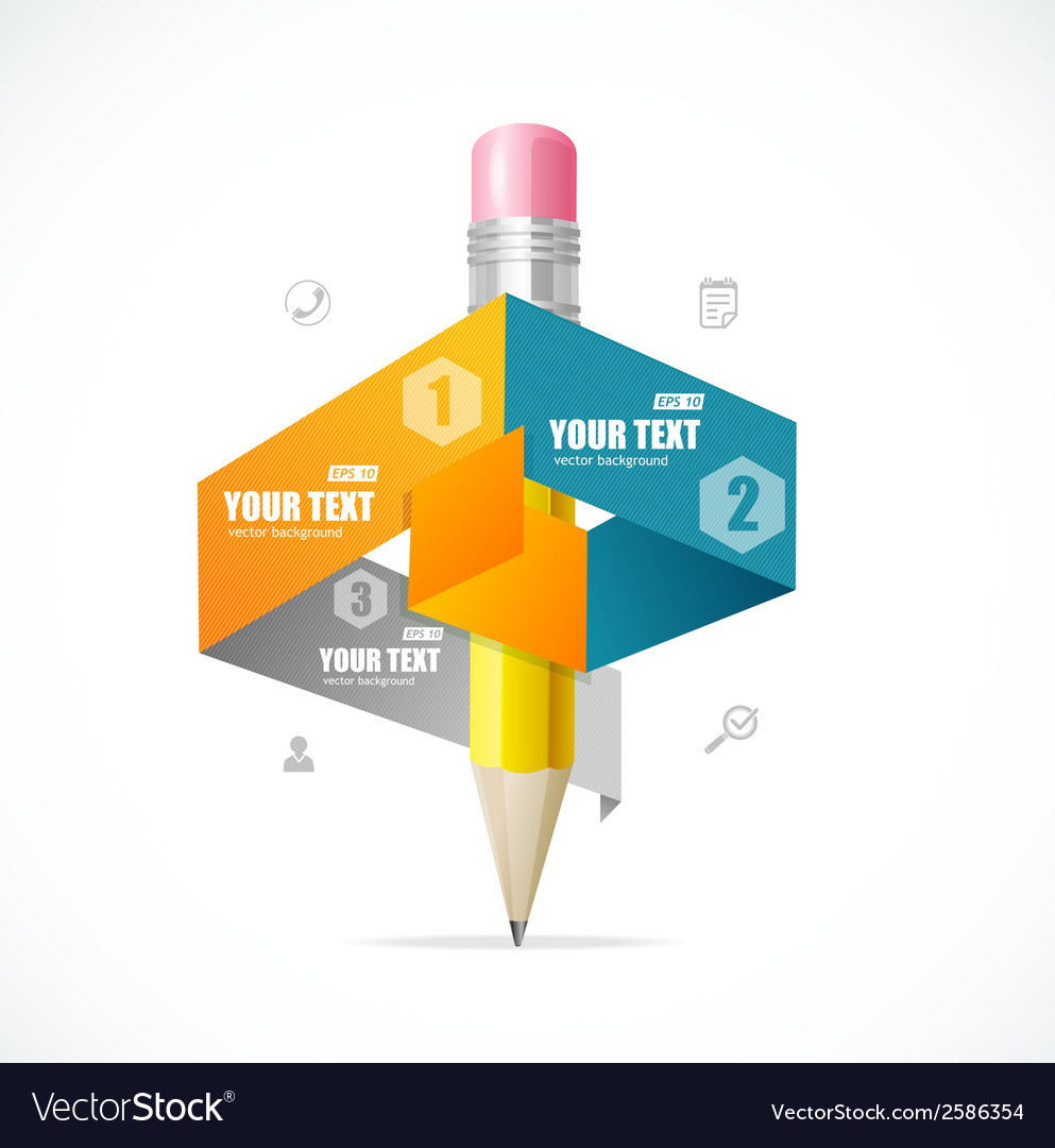 Creative paper and pencil infographics options vector | Price: 1 Credit (USD $1)