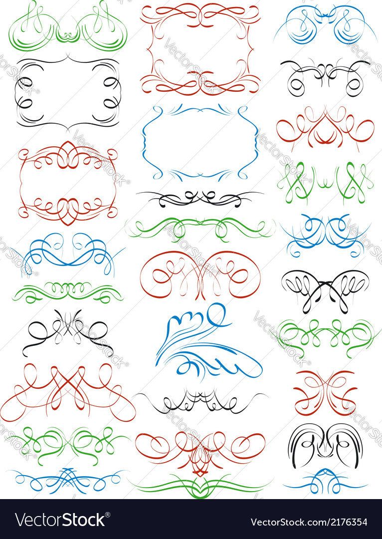 Floral decorative borders and frames ornamental ru vector | Price: 1 Credit (USD $1)