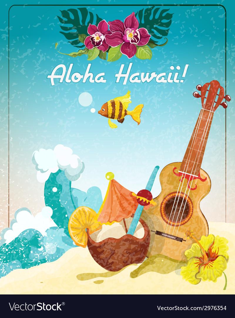 Hawaii guitar vacation poster vector | Price: 1 Credit (USD $1)