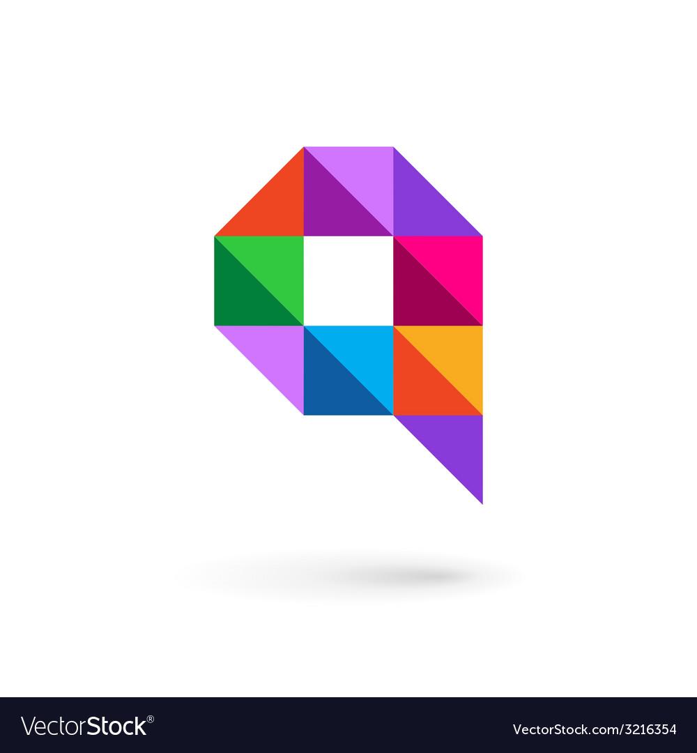Letter q speech bubble mosaic logo icon design vector | Price: 1 Credit (USD $1)