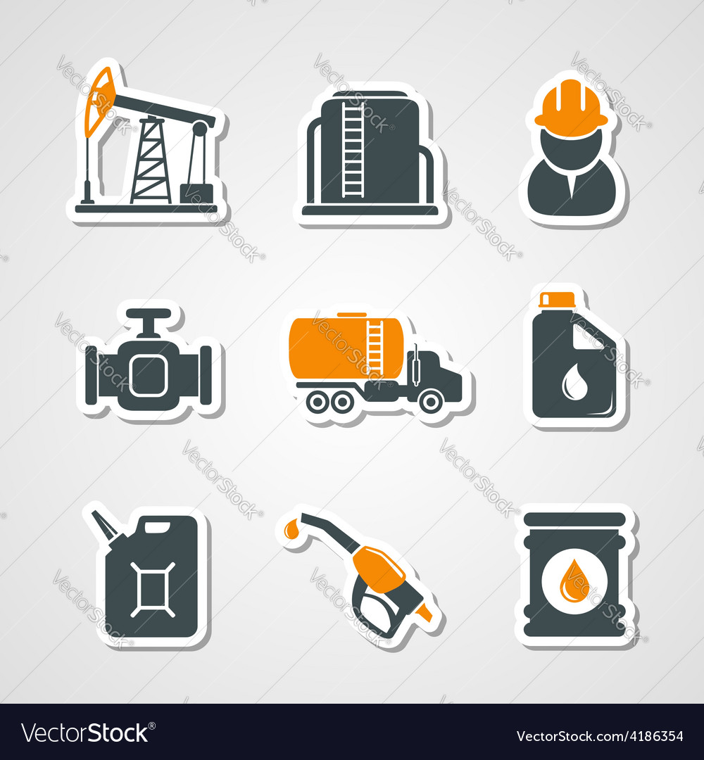 Oil and gas industry icons set vector | Price: 1 Credit (USD $1)