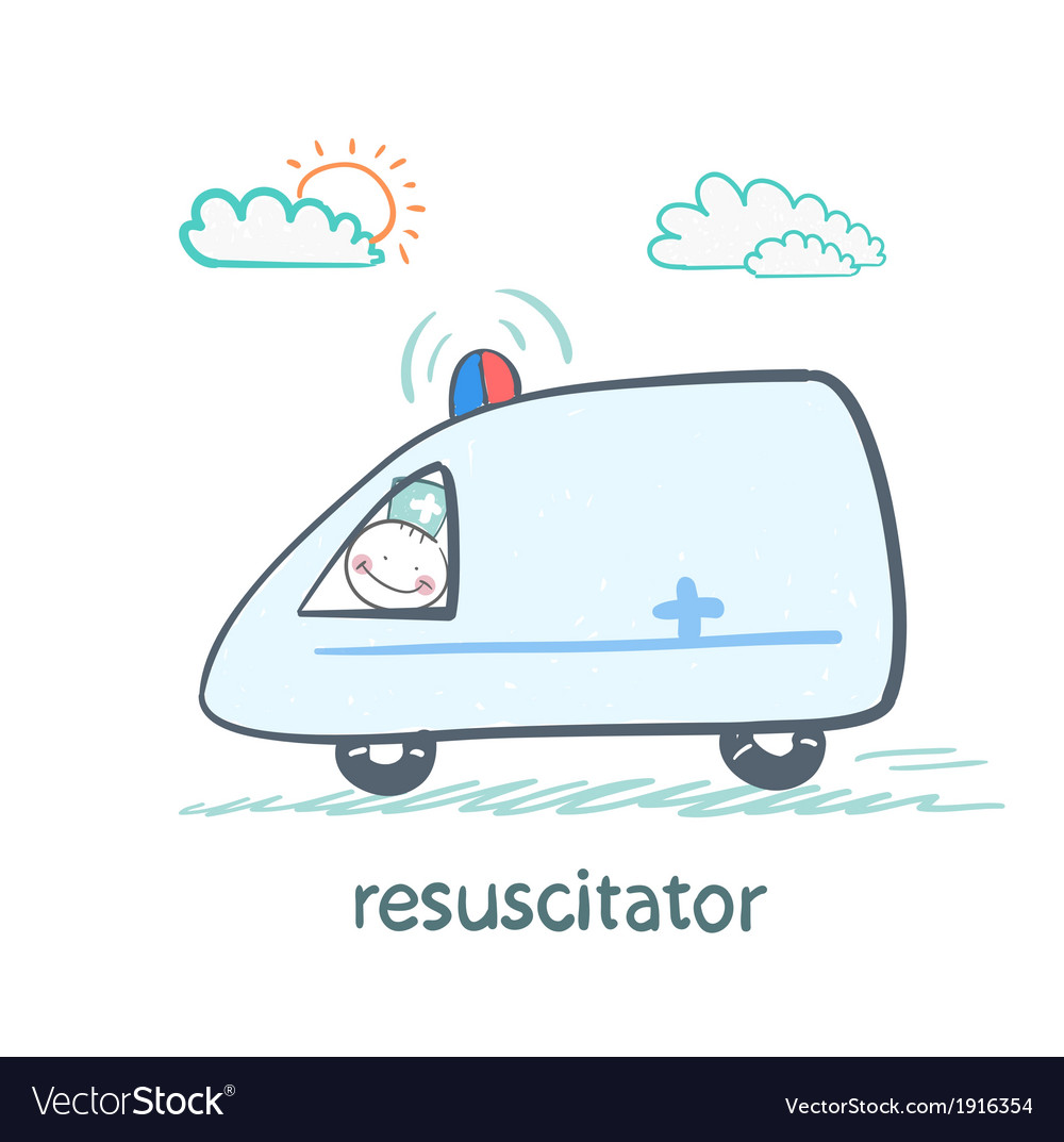 Resuscitator rides in the ambulance vector | Price: 1 Credit (USD $1)