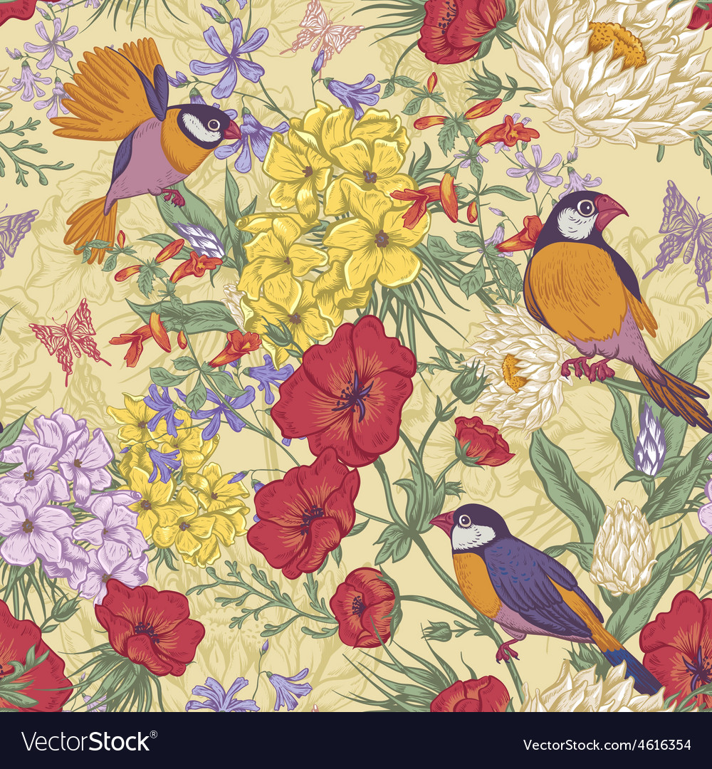 Retro summer seamless floral pattern with birds vector | Price: 1 Credit (USD $1)