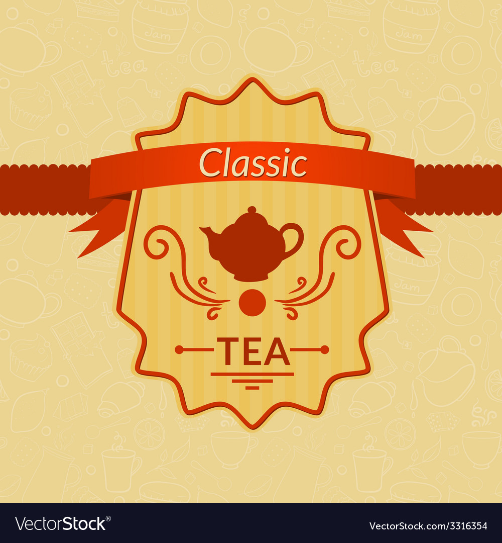 Retro tea label vector | Price: 1 Credit (USD $1)