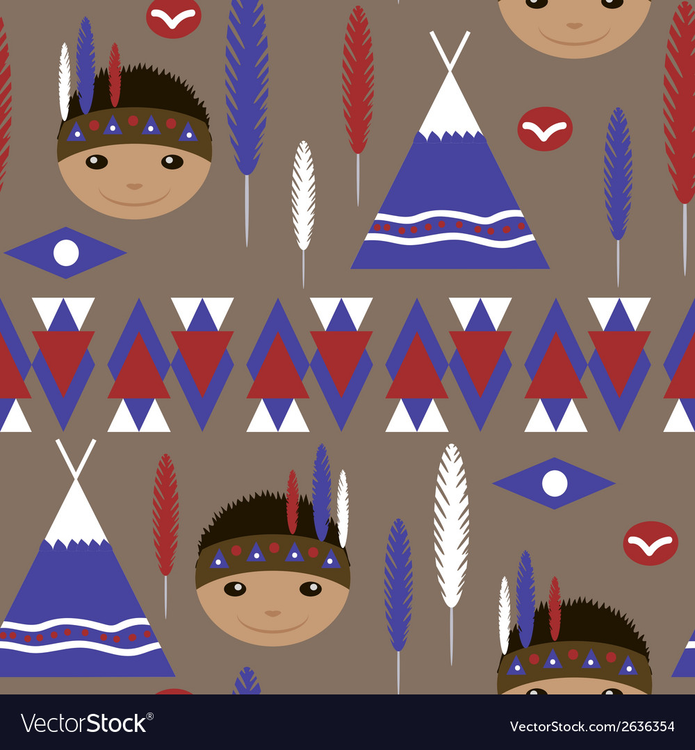 Seamless kids cute american indian pattern vector | Price: 1 Credit (USD $1)