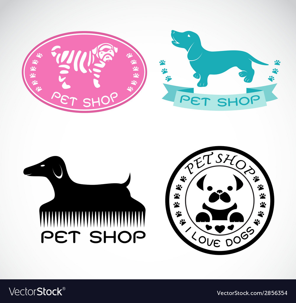 Set of an pet shop label vector | Price: 1 Credit (USD $1)