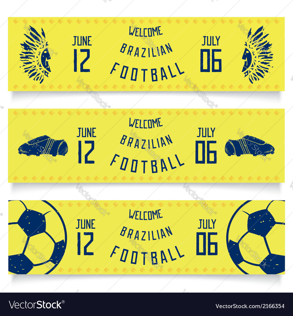 Set of banners welcoming tickets to brazil vector | Price: 1 Credit (USD $1)