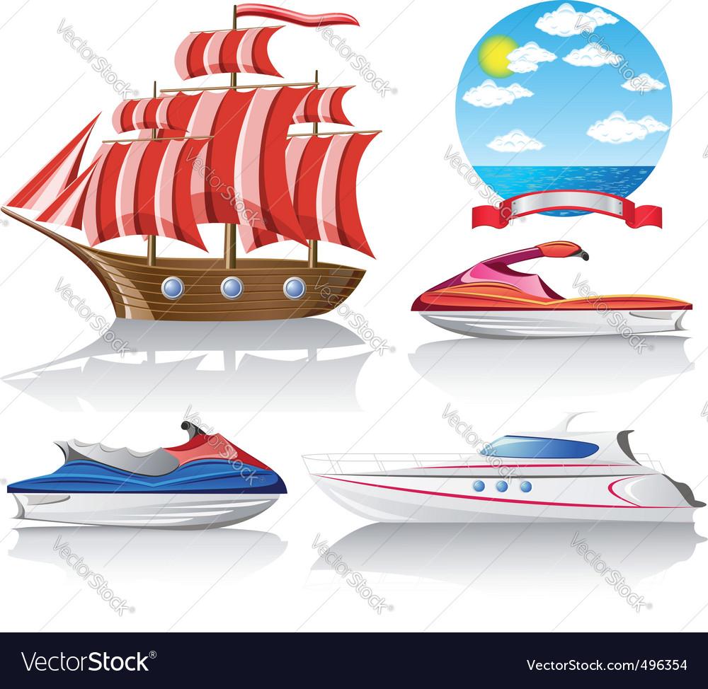 Set of icons marine transport vector | Price: 3 Credit (USD $3)