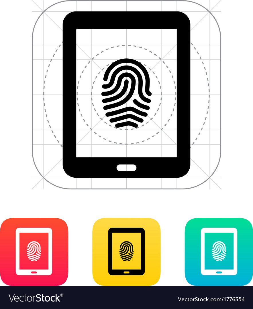 Tablet fingerprint icon vector | Price: 1 Credit (USD $1)