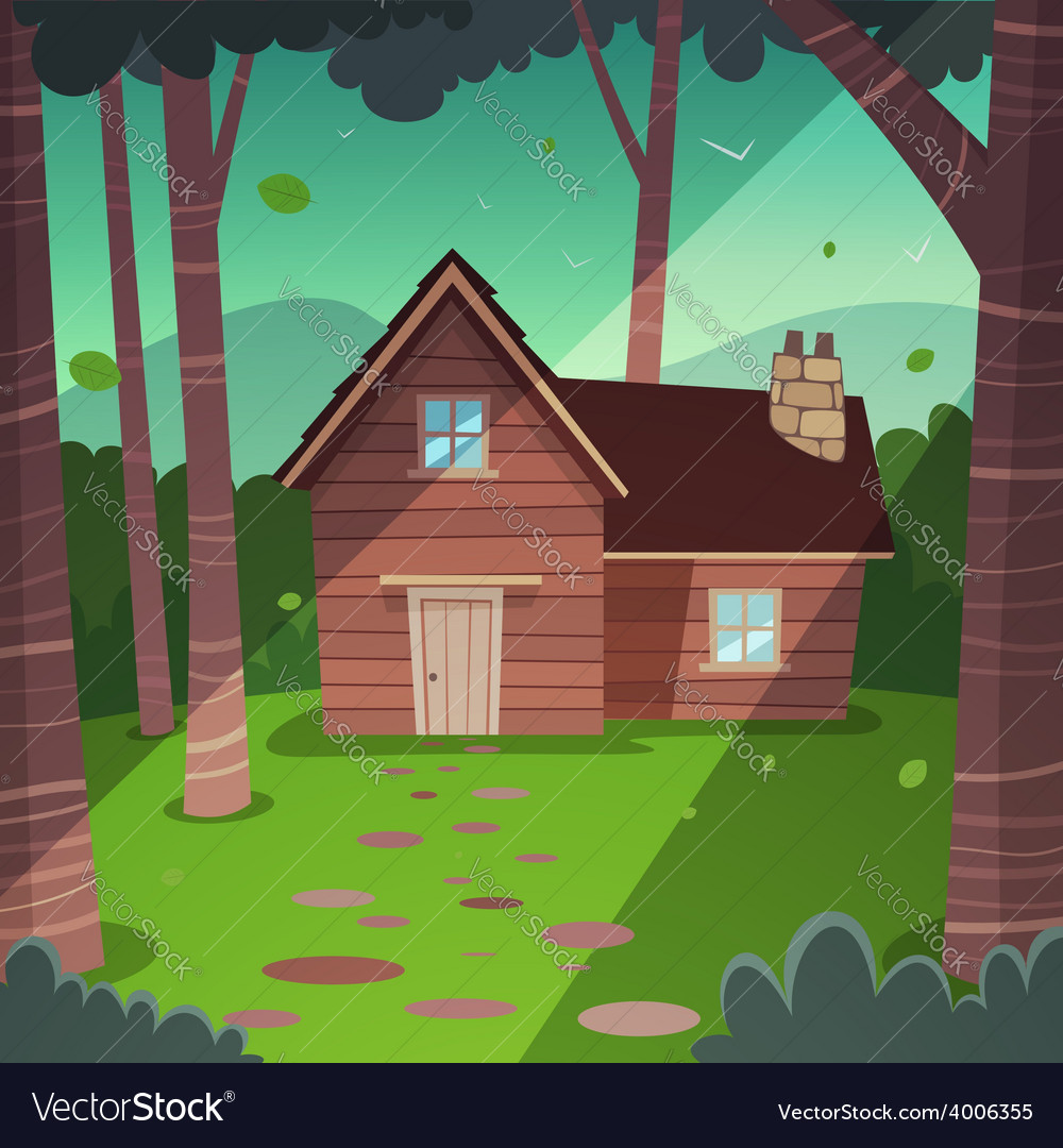 Cabin in woods vector | Price: 5 Credit (USD $5)