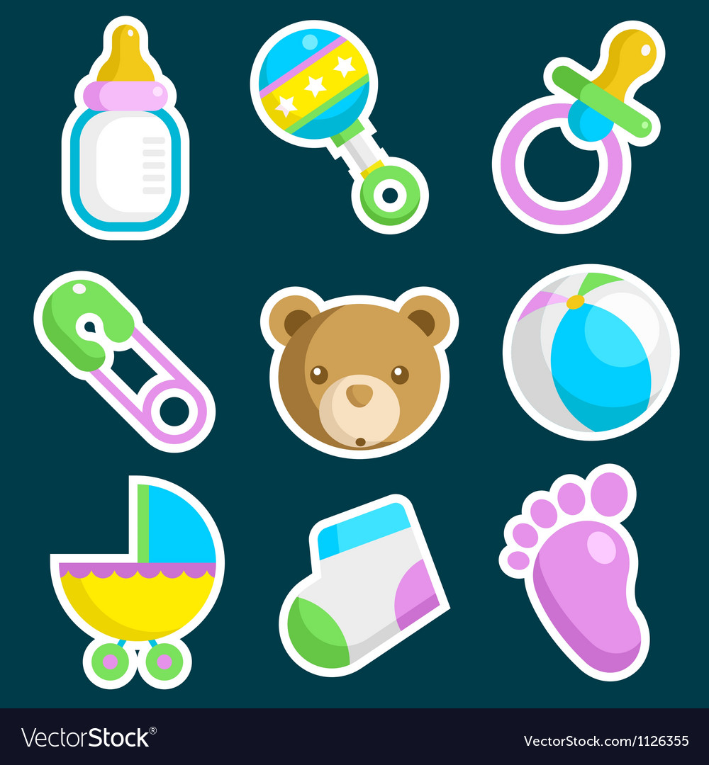 Colorful baby shower icons vector | Price: 1 Credit (USD $1)