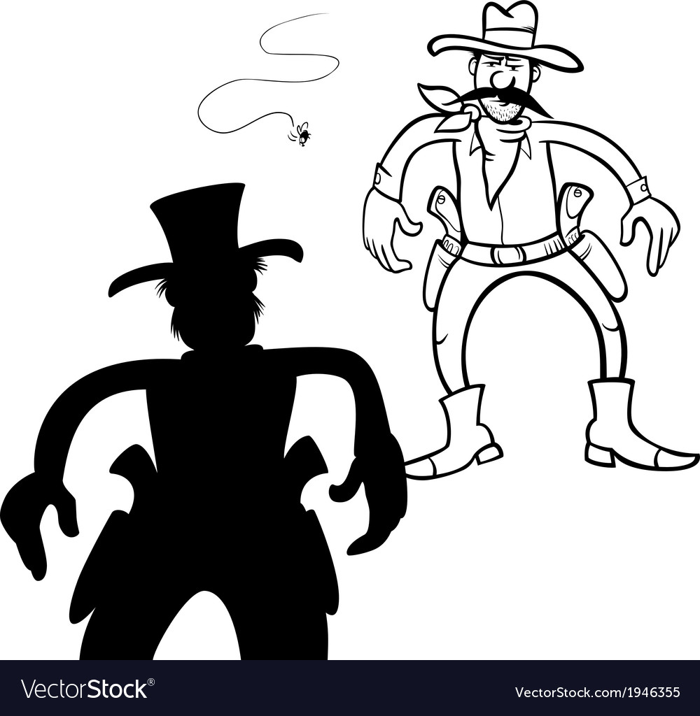 Cowboy duel bw m vector | Price: 1 Credit (USD $1)