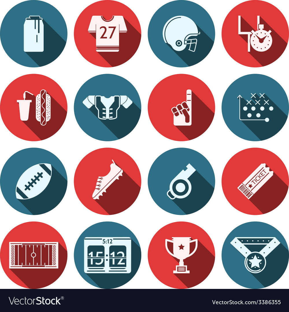 Flat icons for american football vector | Price: 1 Credit (USD $1)