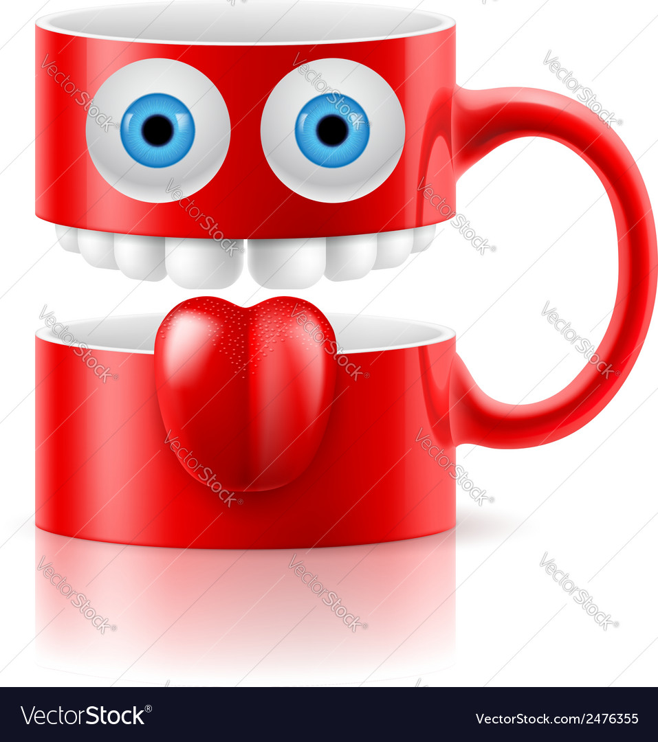 Red mug of two parts with two eyes teeth and vector | Price: 1 Credit (USD $1)
