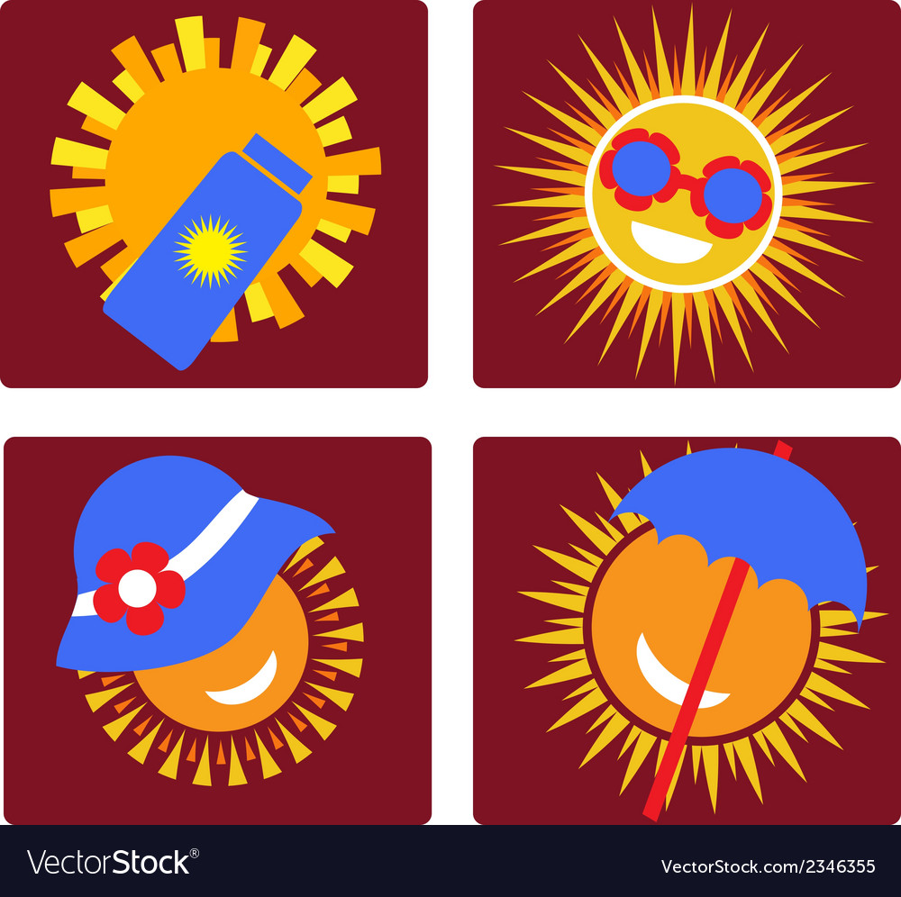 Set of 4 icons for sun protection vector | Price: 1 Credit (USD $1)