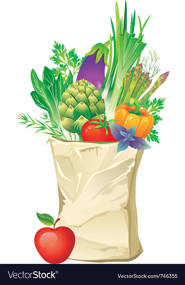 Shopping bag full of vegetables vector | Price: 3 Credit (USD $3)