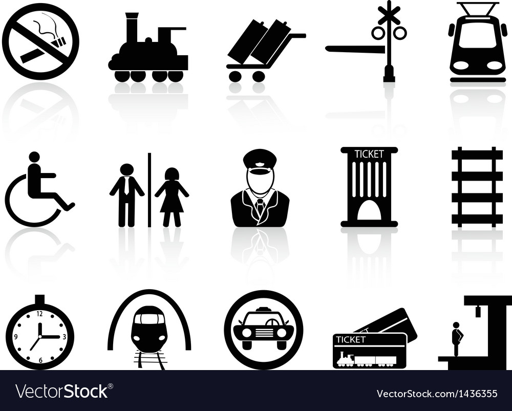 Train station and service icons vector | Price: 1 Credit (USD $1)