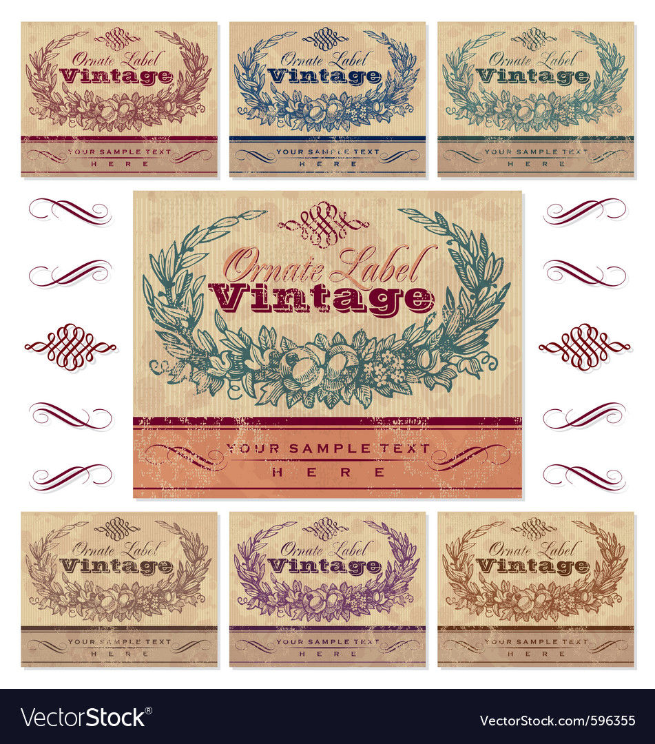 Vintage label set vector | Price: 3 Credit (USD $3)