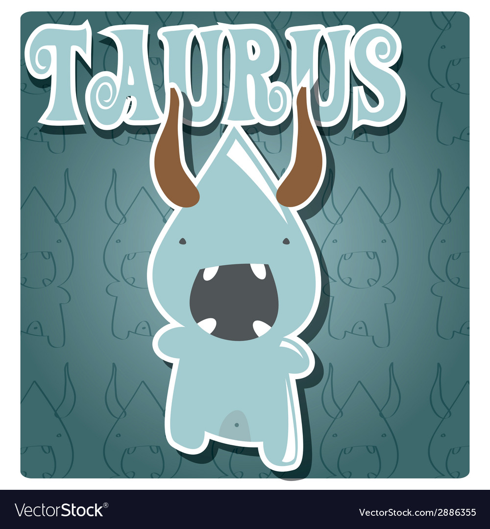 Zodiac sign taurus with cute colorful monster vector | Price: 1 Credit (USD $1)