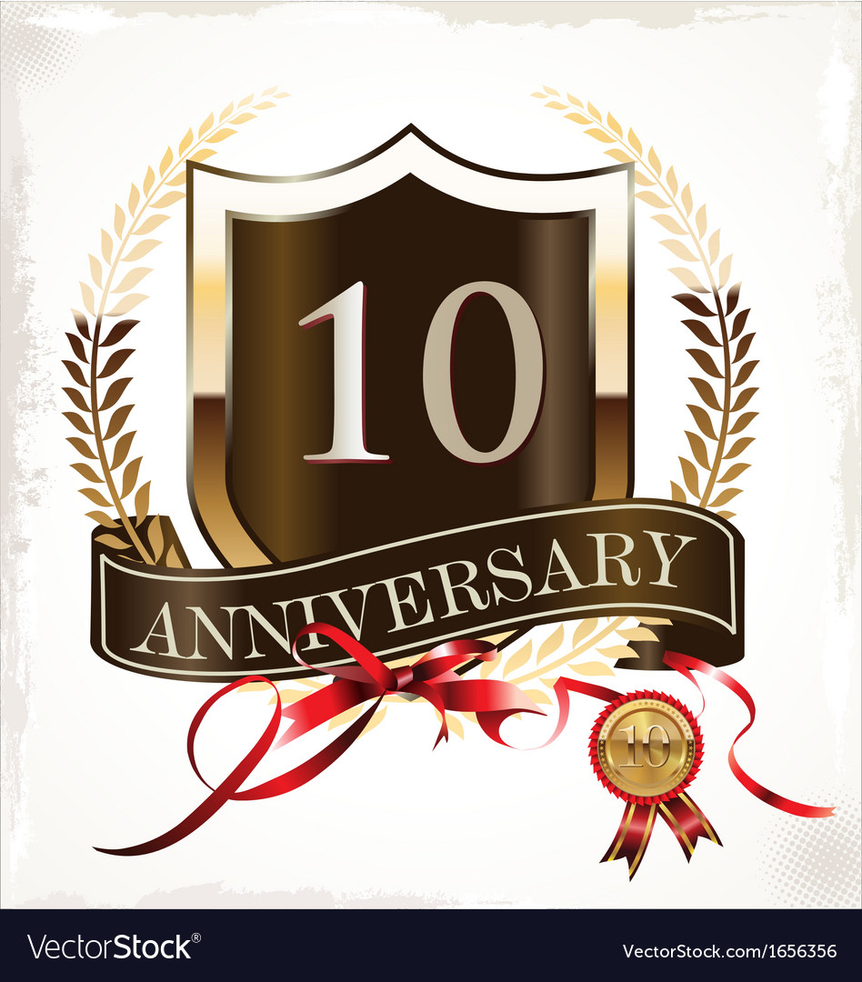 10 years anniversary golden label vector | Price: 1 Credit (USD $1)