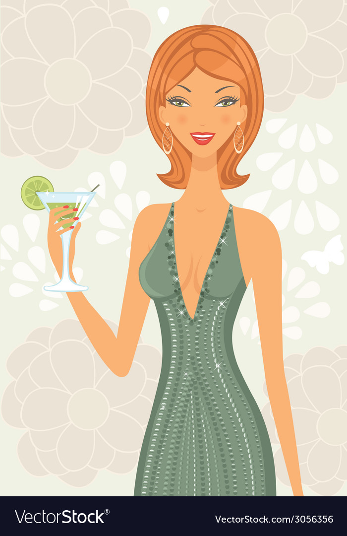 Beautiful elegant woman with cocktail vector | Price: 1 Credit (USD $1)