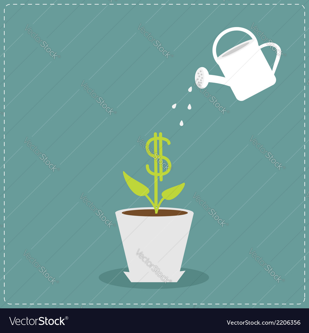 Dollar plant in the pot and watering can financial vector | Price: 1 Credit (USD $1)
