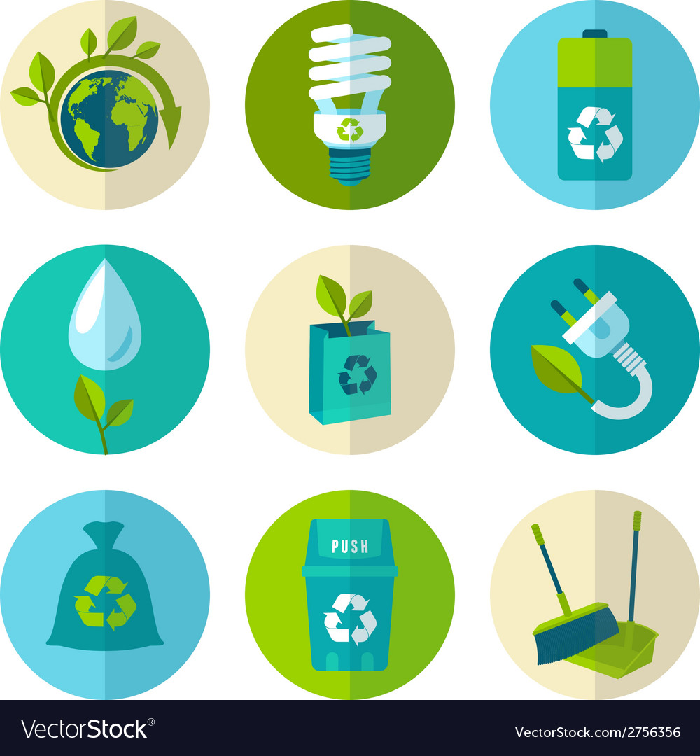 Ecology and waste flat icons set vector | Price: 1 Credit (USD $1)