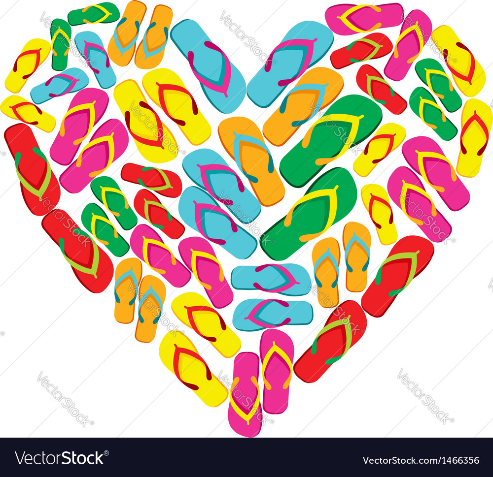 Flip flops in love heart shape vector | Price: 1 Credit (USD $1)