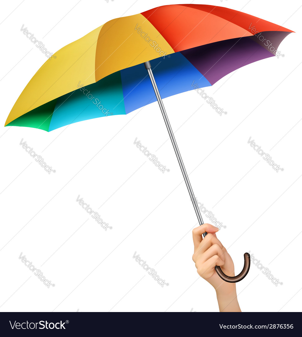Hand with a rainbow umbrella vector   Price: 1 Credit (USD $1)