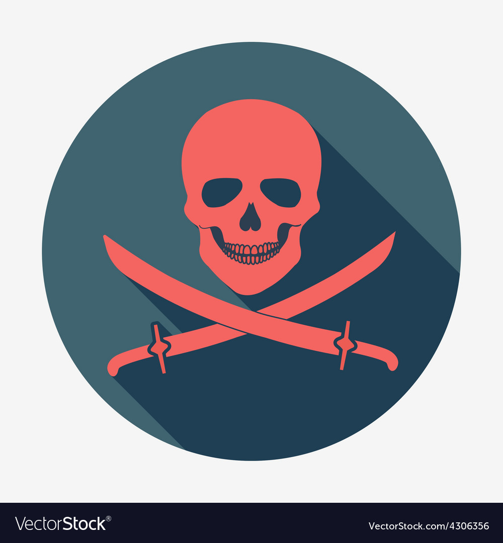 Pirate flag icon jolly roger skull and sabers vector | Price: 1 Credit (USD $1)