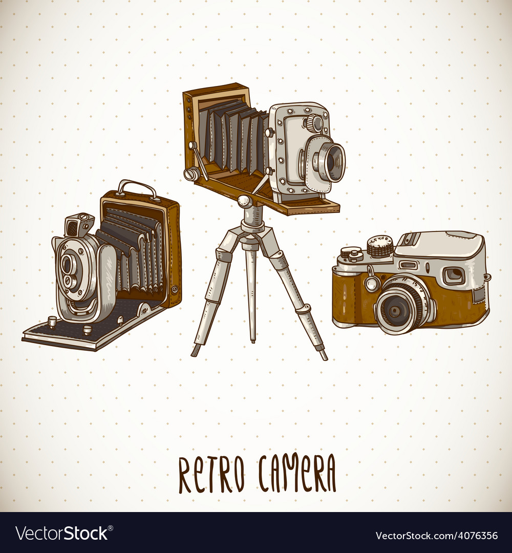 Set of vintage retro camera vector | Price: 1 Credit (USD $1)