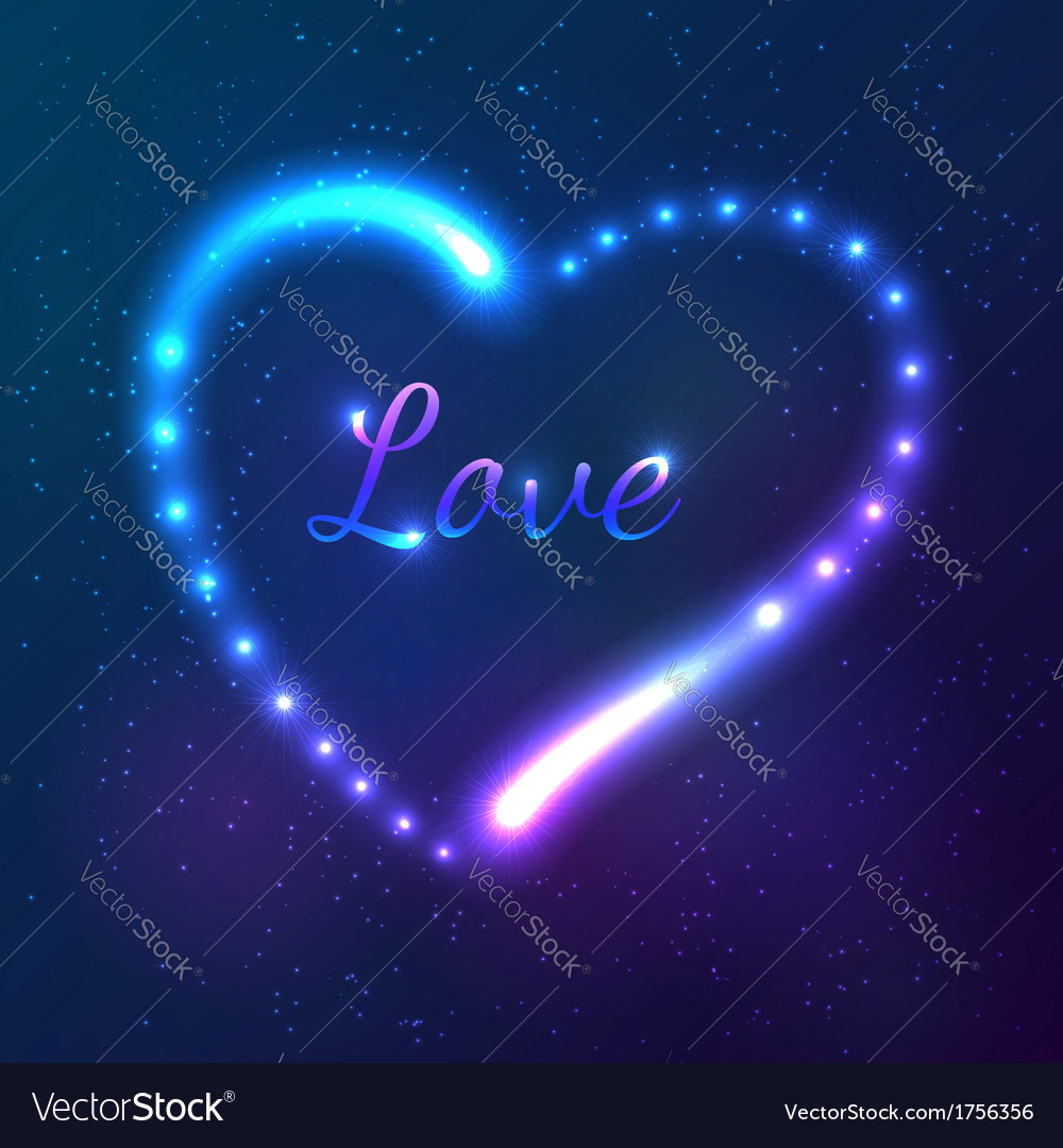 Shining cosmic neon heart with sign love vector | Price: 1 Credit (USD $1)