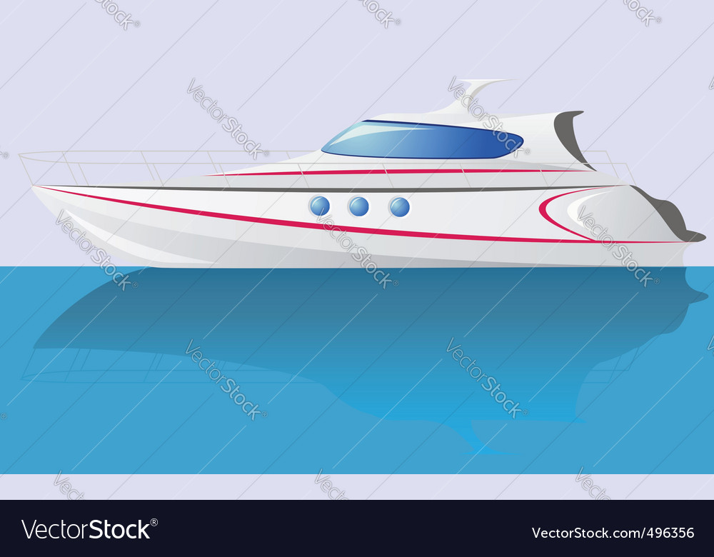 White speed yacht vector | Price: 3 Credit (USD $3)