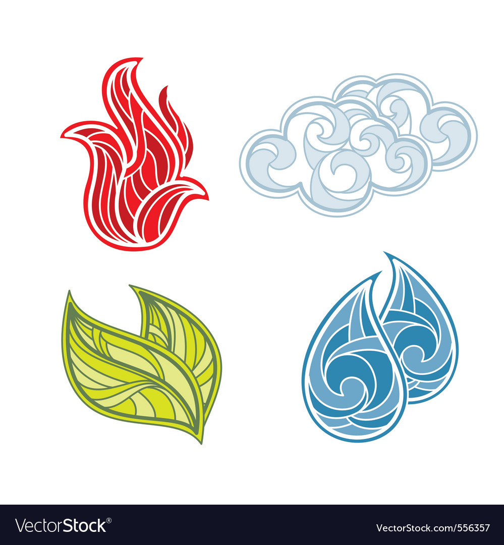 Abstract icon set of nature elements vector | Price: 1 Credit (USD $1)