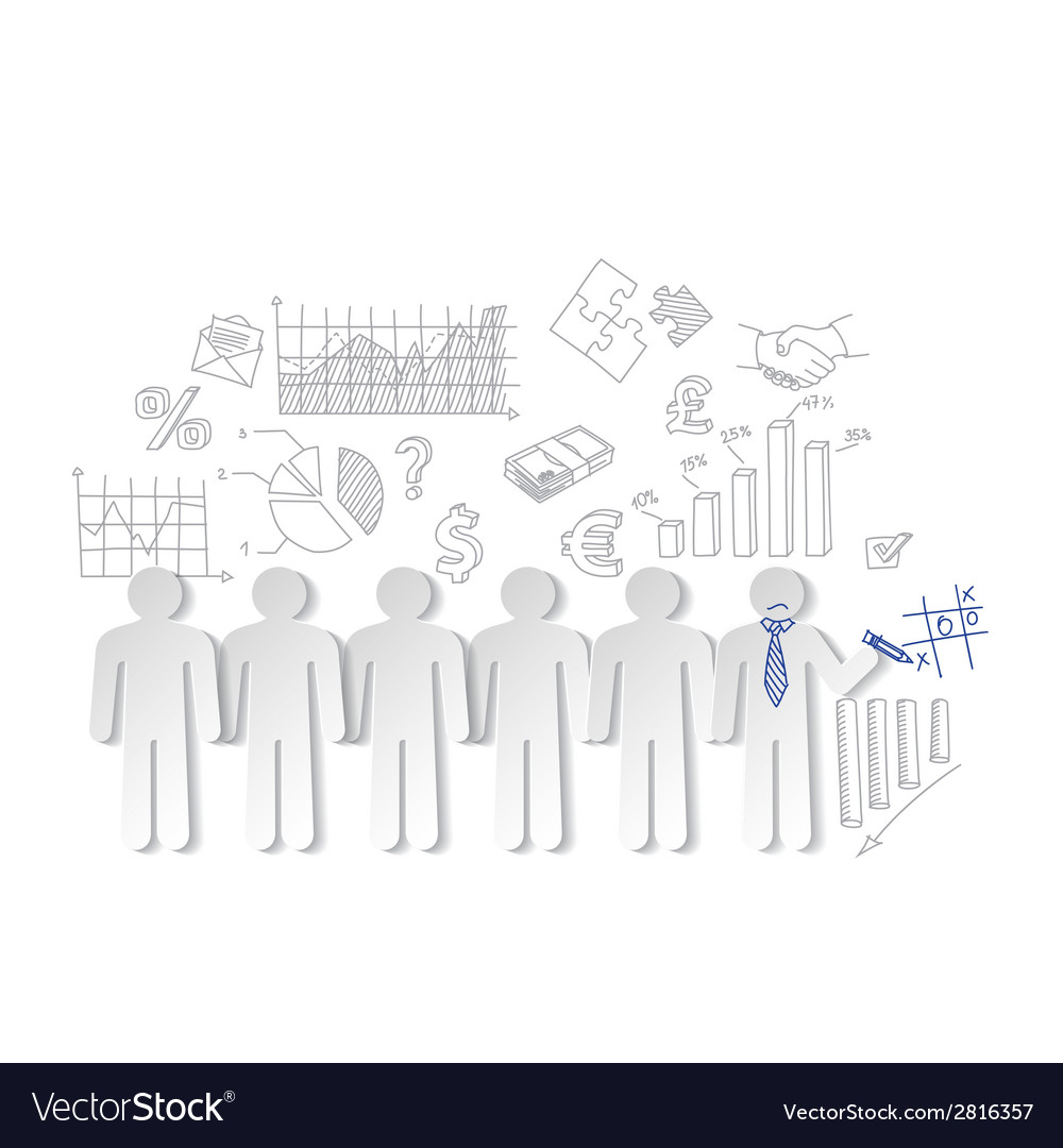 Business charts teamwork and team outsider vector | Price: 1 Credit (USD $1)