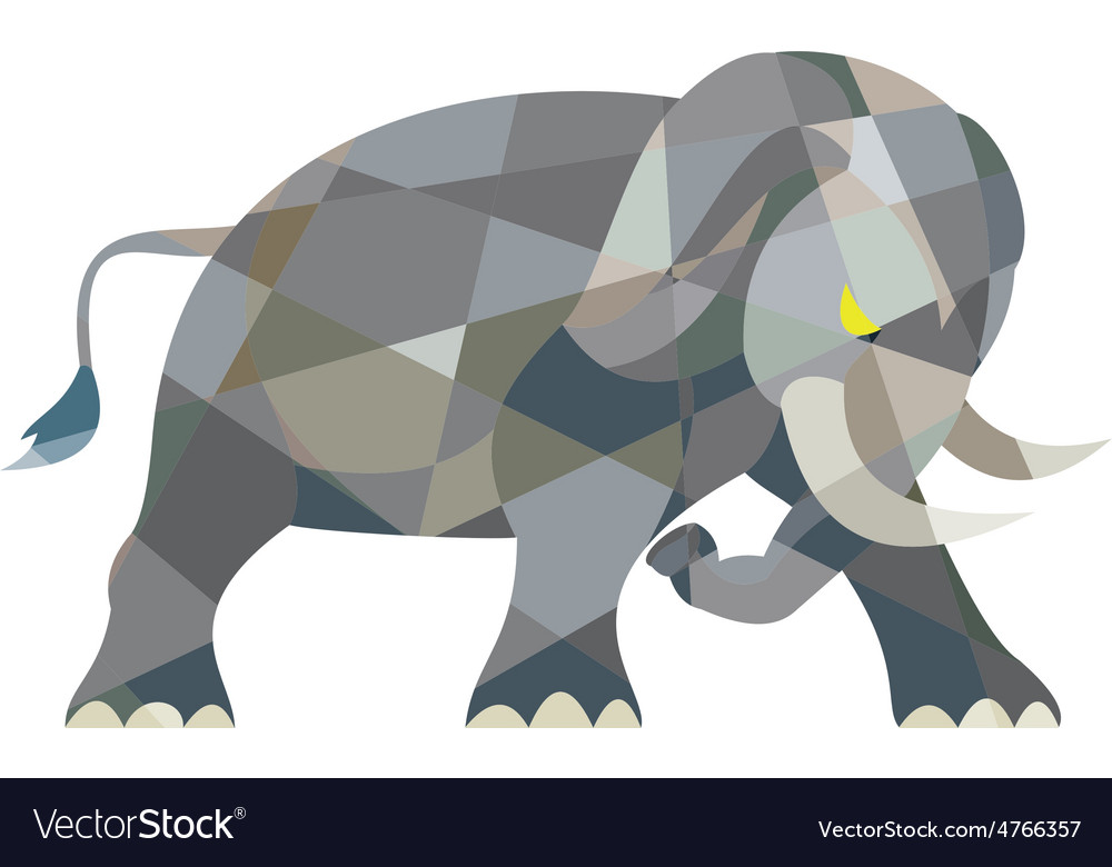 Elephant attacking side low polygon vector | Price: 1 Credit (USD $1)