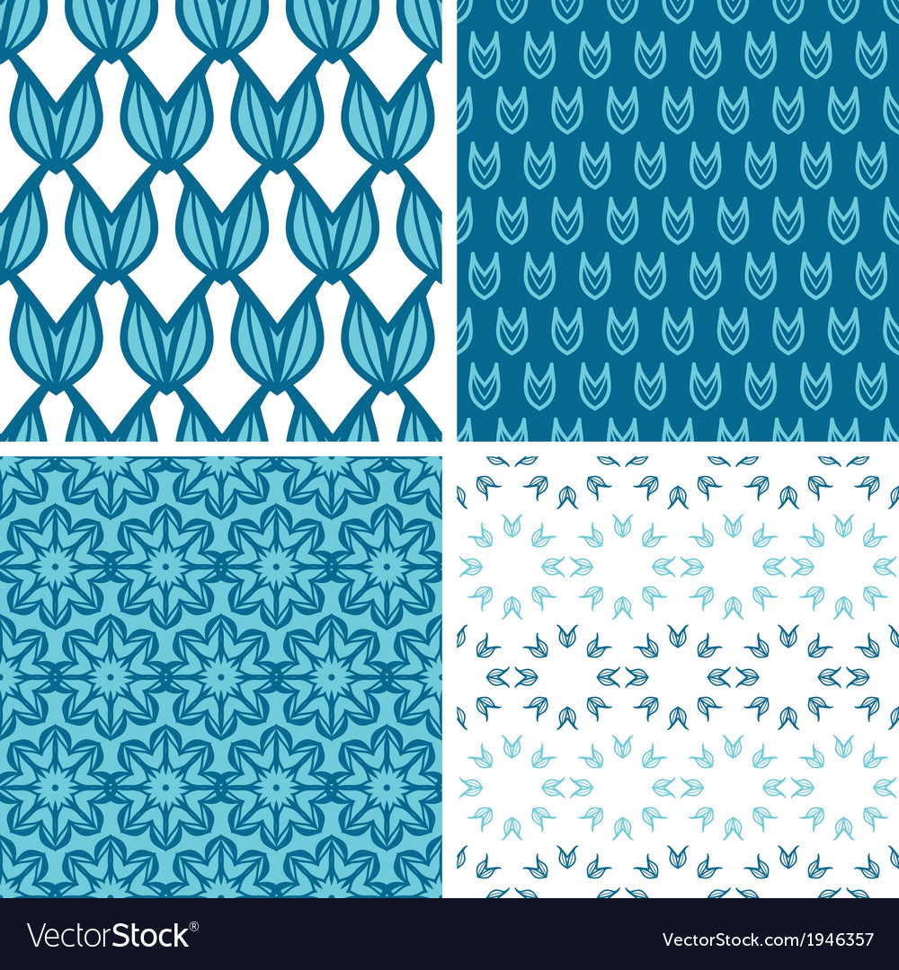 Four abstract blue tulip shapes seamless patterns vector | Price: 1 Credit (USD $1)