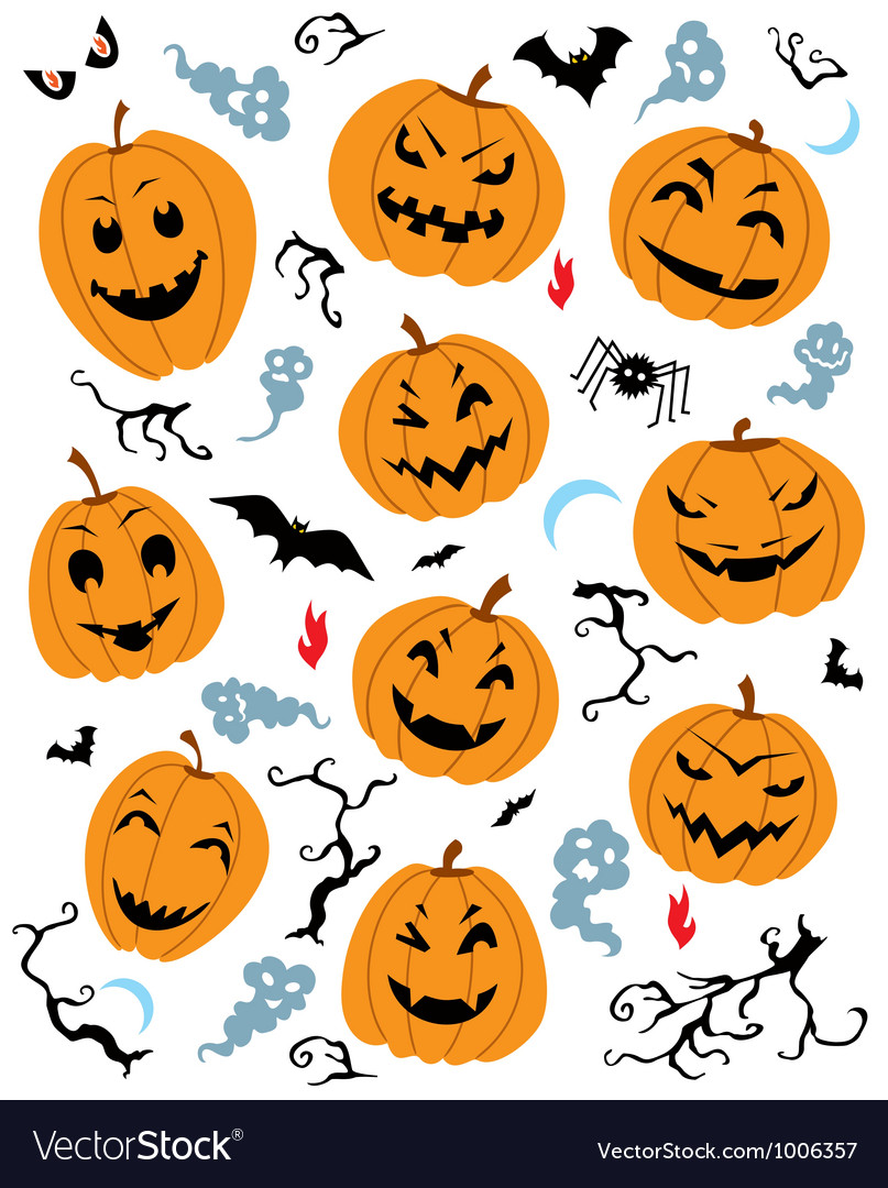 Halloween characters set vector | Price: 1 Credit (USD $1)