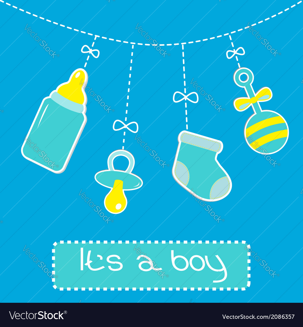 Hanging bottle pacifier rattle and sock baby boy vector | Price: 1 Credit (USD $1)