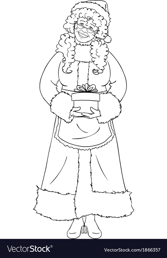 Mrs santa claus holding a present for christmas vector | Price: 1 Credit (USD $1)