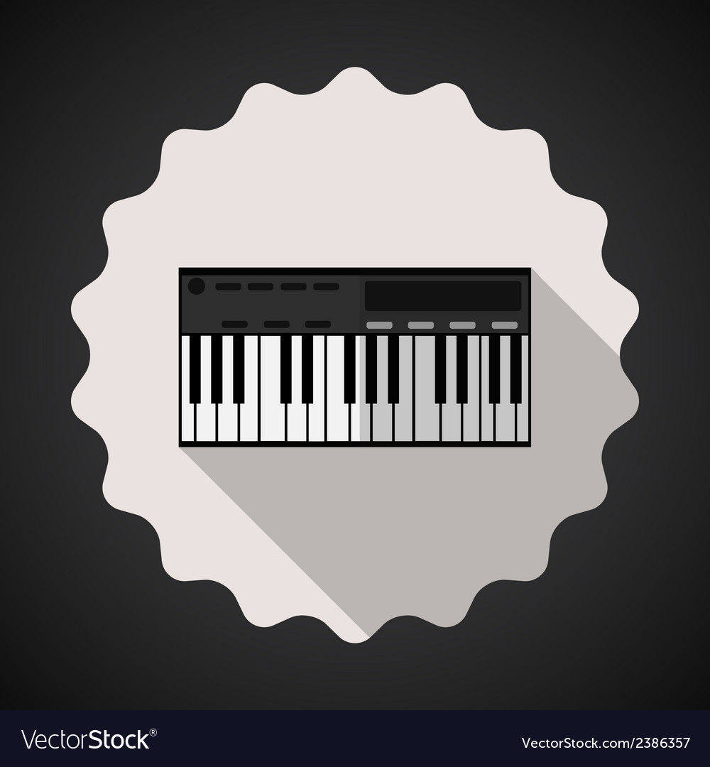 Music keyboard composer midi synthesizer flat icon vector | Price: 1 Credit (USD $1)
