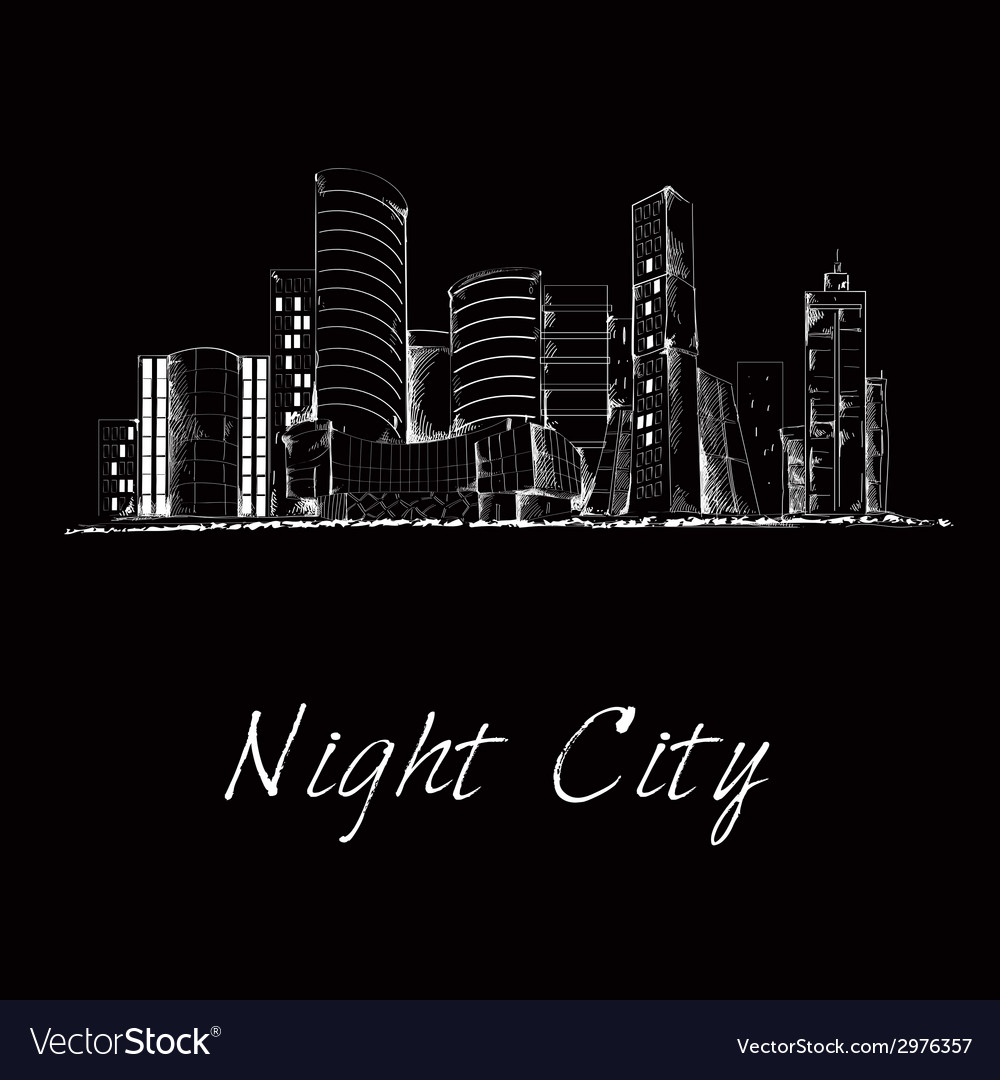 Night city skyline sketch vector | Price: 1 Credit (USD $1)